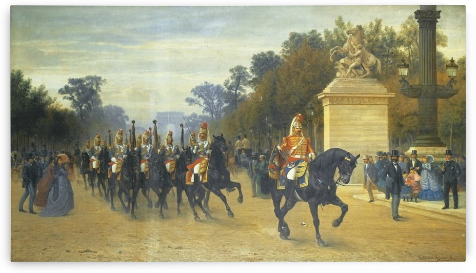 A military review on the Champs-Elysees avenue by Paul Albert Girard