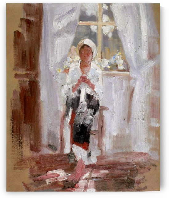 Peasant girl sewing at the window by Nicolae Grigorescu