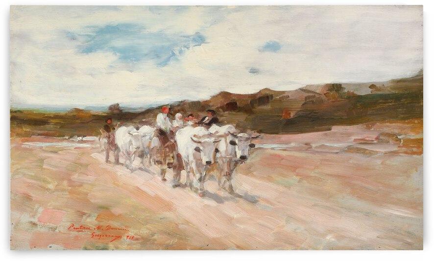 Ox carts at noon by Nicolae Grigorescu