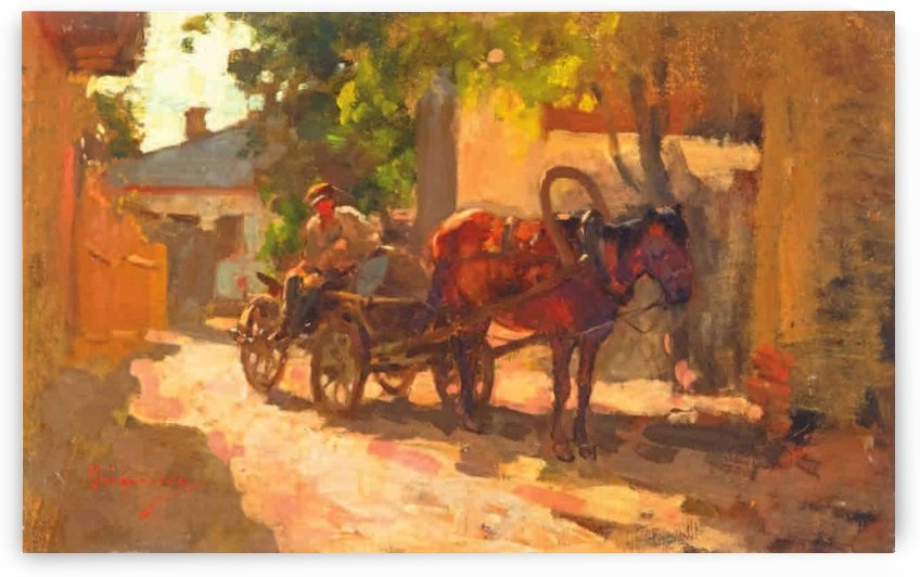 Farmer and cart in a shaded village lane by Nicolae Grigorescu