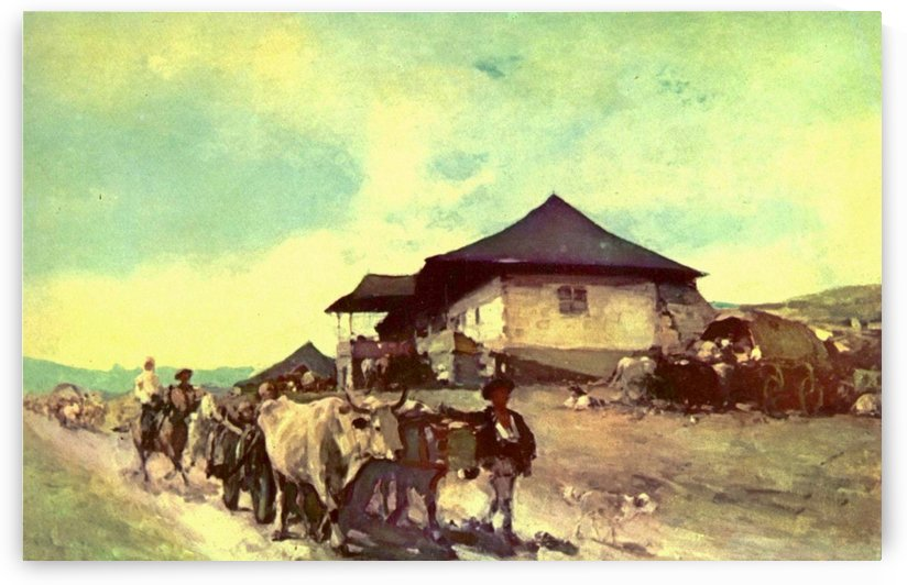 Landscape with figures and cattle in Oratii by Nicolae Grigorescu
