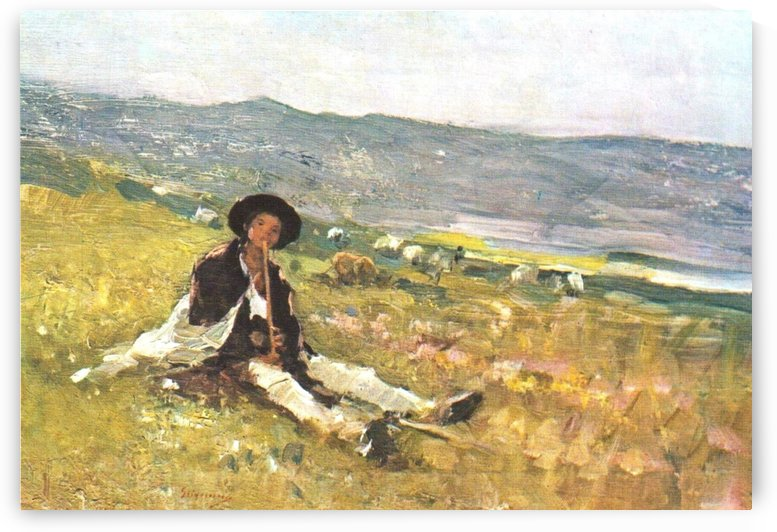 Young shepherd in the grass by Nicolae Grigorescu
