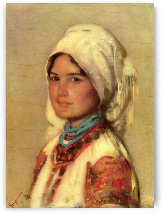 Portrait of a young girl with traditional clothes by Nicolae Grigorescu