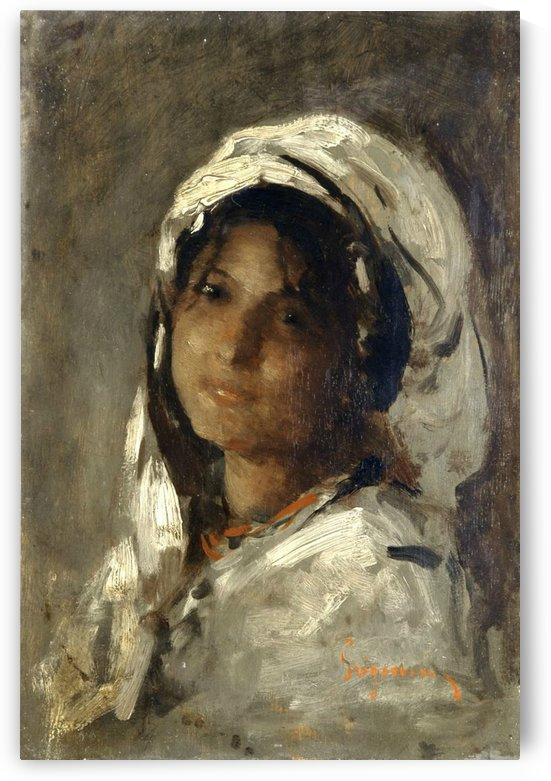 Portrait of a brunette girl by Nicolae Grigorescu