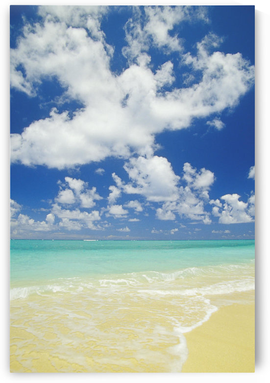 Hawaii, Oahu, Lanikai; Gentle Wave Washing Ashore On Beach, Turquoise Water And Blue Sky. by PacificStock