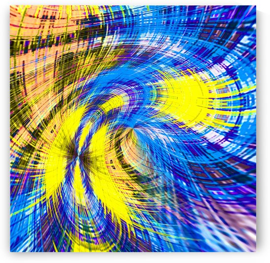 geometric psychedelic splash abstract pattern in blue and yellow by TimmyLA