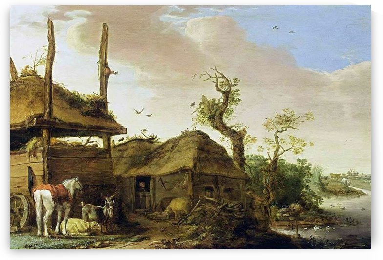 Farmstead near a stream by Cornelis Saftleven
