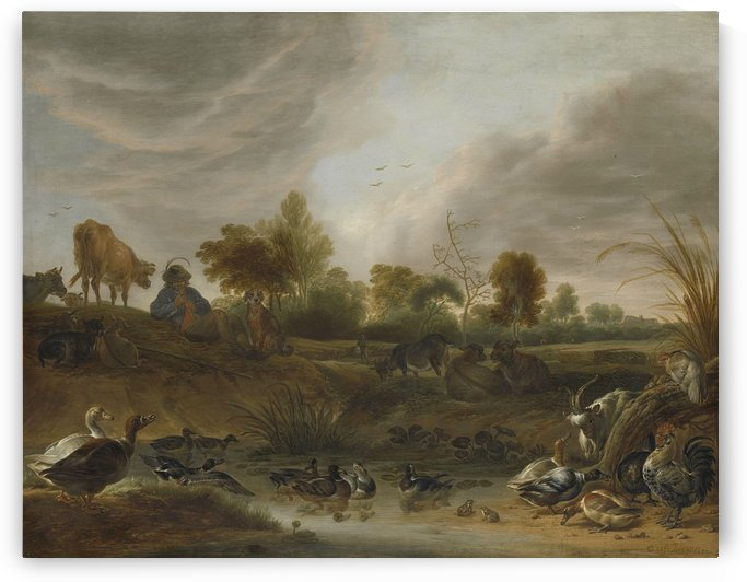 Landscape with animals, 1652 by Cornelis Saftleven