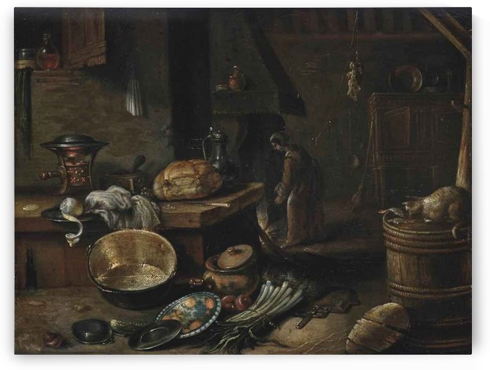 A barn interior with pots, pans and vegetables, a woman stoking a fire beyond by Cornelis Saftleven