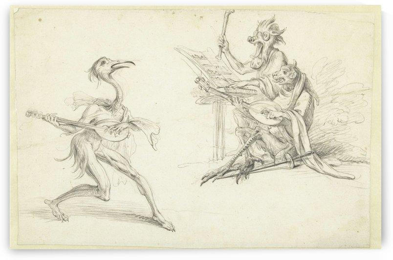 Three musician devils by Cornelis Saftleven