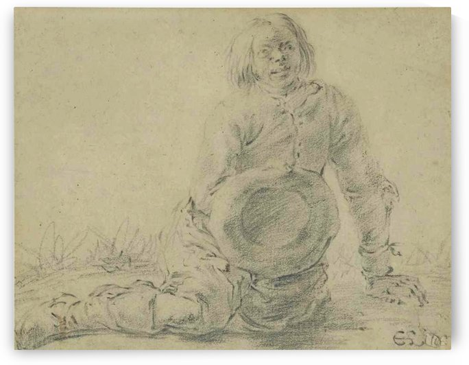 A seated beggar with his hat in his right hand by Cornelis Saftleven