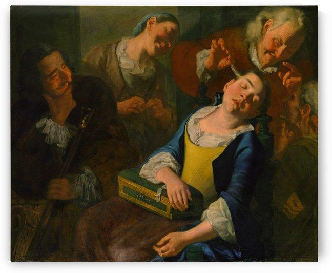 Teasing a sleeping girl by Gaspare Traversi