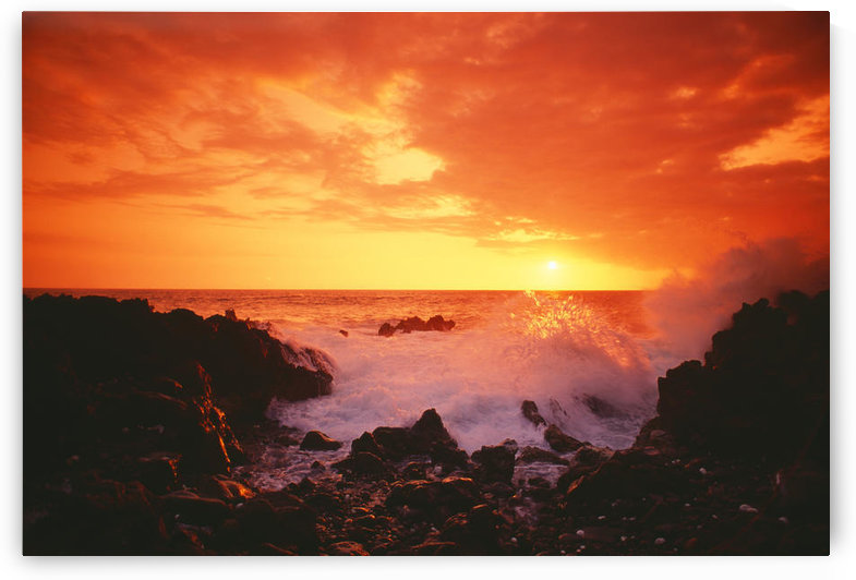 Hawaii, Big Island, Kona, Keahou, Sunset And Surf On Rocks. by PacificStock