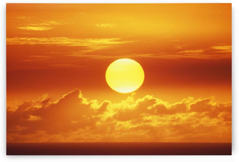 Hawaii, Oahu, Waikiki, View Of Huge Orange Sun Sinking Towards The Horizon. by PacificStock