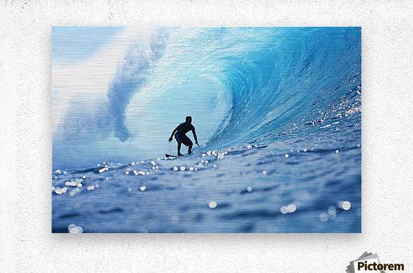 Hawaii, Oahu, North Shore, Silhouette Of Surfer In Pipeline Barrel  Metal print