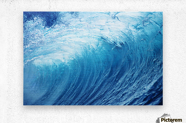 Inside Glassy, Blue Wave Curling Over, Closeup  Metal print