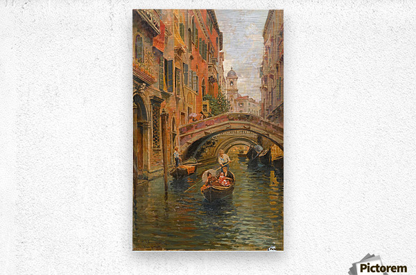 A walk with the gondola along a small canal in Venice  Metal print