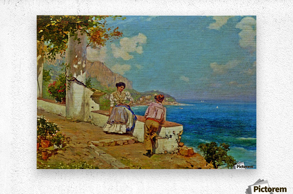 Courting couple in Naples  Metal print