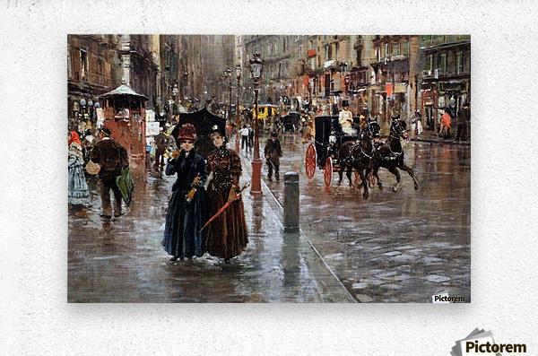 Naples via Toledo, with rain drops  Metal print
