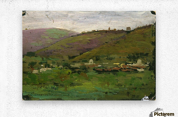 Landscape with houses on an Italian hill  Metal print