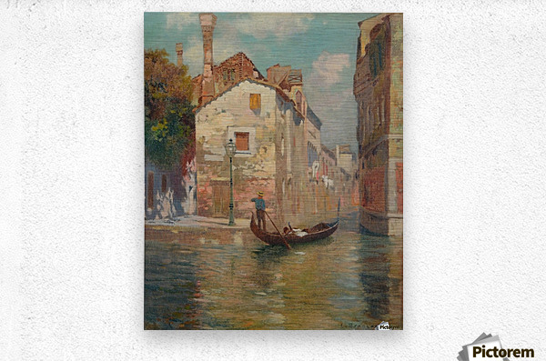 Gondola traveling along a canal in Venice  Metal print