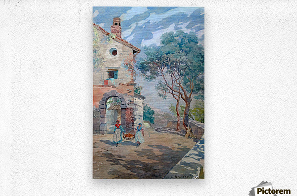 Two girls carrying fruits to their house  Metal print