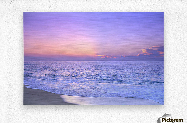 Lavender Sky With Hues Of Pink And Yellow, Shoreline Water To Ocean C1699  Metal print