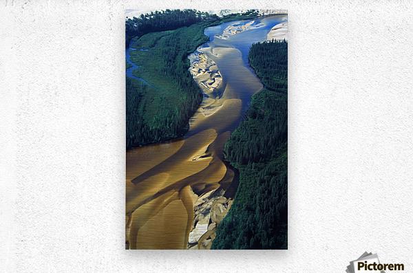 Aerial View Of Williams River That Runs Through Athabaska Dune Fields, Northern Saskatchewan.  Metal print