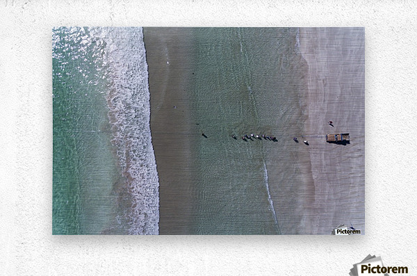 Fisherman from the sky  Metal print