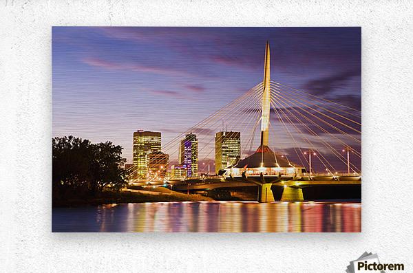 City Skyline, Red River And Provencher Bridge At Dusk, Winnipeg, Manitoba  Metal print