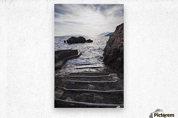 A small boat ramp along the Borak coast, near Trpanj; Borak, Croatia  Metal print