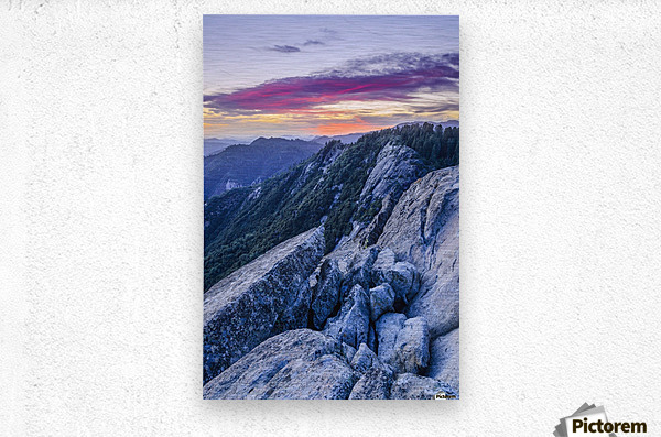 View from Moro Rock at dusk, Sequoia National Park; California, United States of America  Metal print