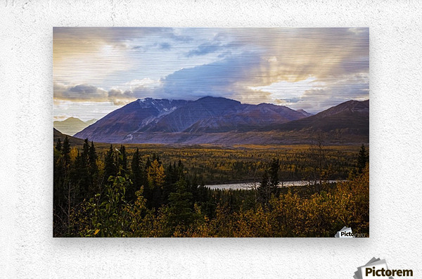Autumn sunset overlooking the area known as 'Black Rapids' in the Alaska Range along the Richardson Highway; Alaska, United States of America  Metal print