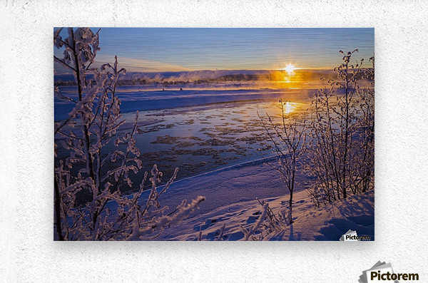 Ice flows in the Tanana River at sunset during freeze up in early winter; Alaska, United States of America  Metal print