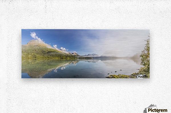 Scenic panorama of Kenai Lake and fog at sunrise, Cooper Landing, Southcentral Alaska, USA  Metal print