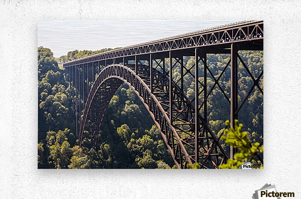 The New River Gorge Bridge is a steel arch bridge 3,030 feet long over the New River Gorge near Fayetteville, in the Appalachian Mountains of the Eastern United States; West Virginia, United States of America  Metal print