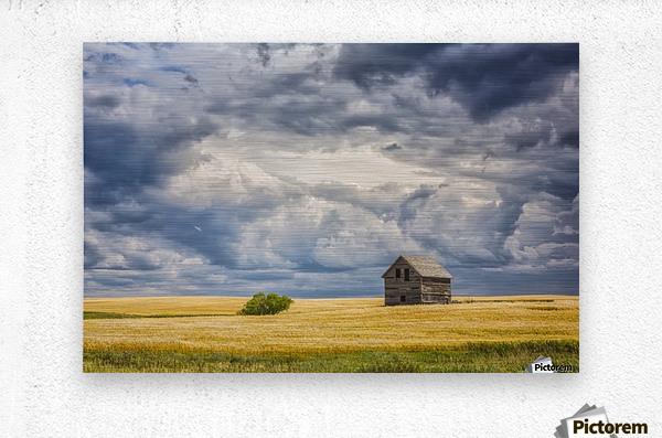 Abandoned building along the roads of rural Saskatchewan; Saskatchewan, Canada  Metal print