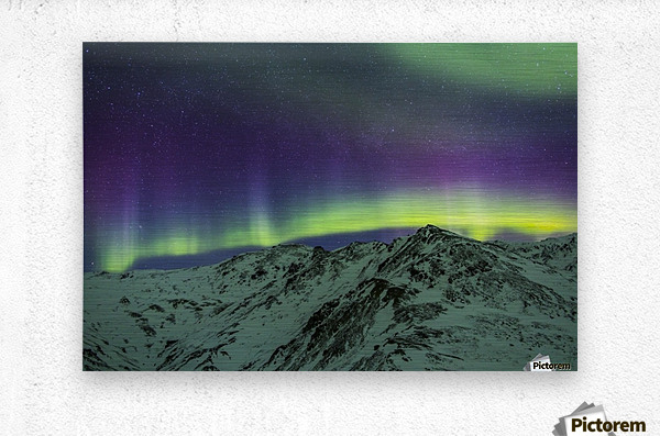 Aurora borealis over mountains within Denali National Park on a very cold winter night.  The Andromeda Galaxy is visible to the left; Alaska, United States of America  Metal print