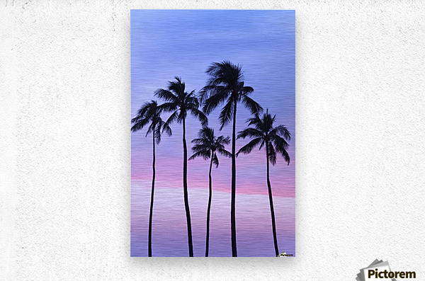 Five coconut palm trees in line with cotton candy sunset behind; Honolulu, Oahu, Hawaii, United States of America  Metal print