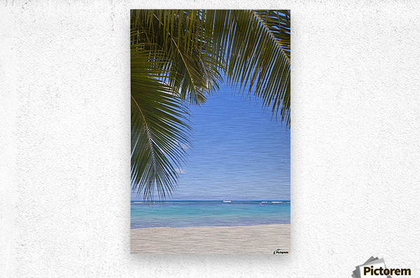 Beautiful clear day on a white sandy beach with coconut palm tree fronds hanging above; Honolulu, Oahu, Hawaii, United States of America  Metal print