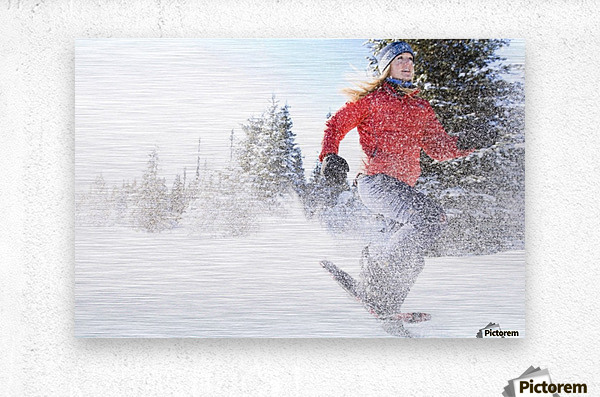 Young Woman On Snowshoes Enjoy The Outdoors Near Homer, Alaska During Winter.  Metal print