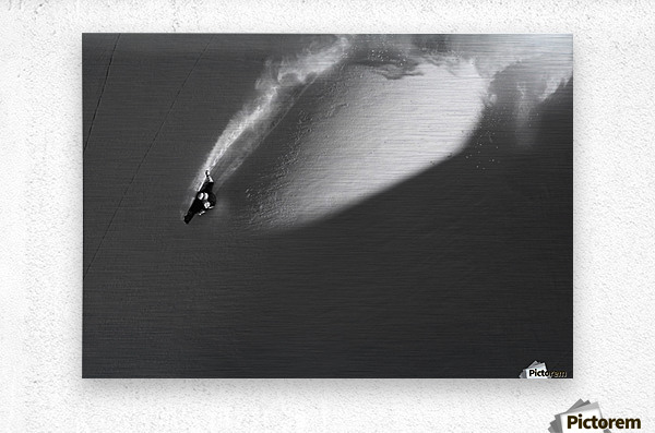 Person extreme snowboarding in mountains above Haines, Southeast Alaska, USA  Metal print