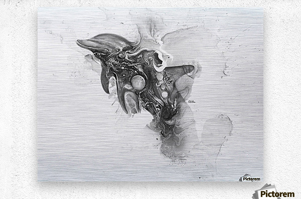 Illustration of a dolphin splashing through the surface of the water  Metal print