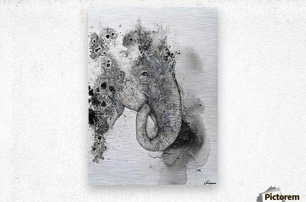 Illustration of an elephant's head  Metal print
