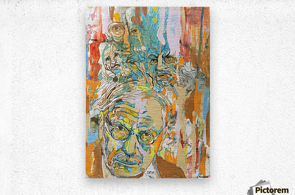 Illustration of a man with heads talking above his head  Metal print