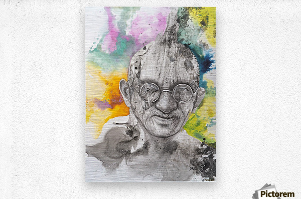 Illustration of a man wearing eyeglasses  Metal print