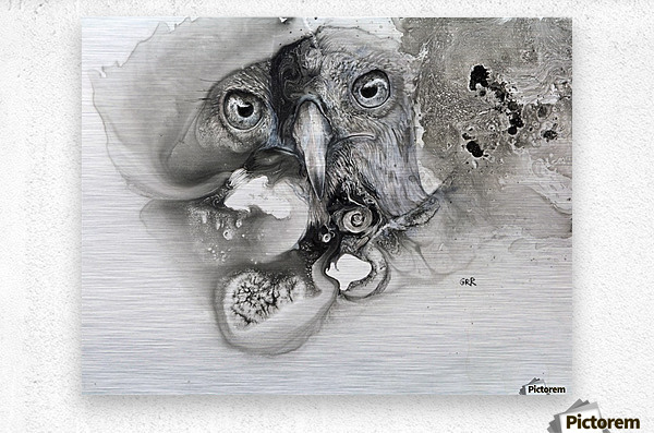 Illustration of a bird's face surrounded by mottled textures and abstract  Metal print