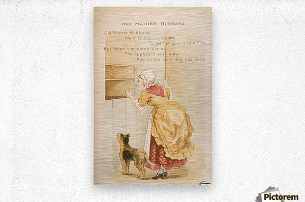 Old Mother Hubbard from Old Mother Goose's Rhymes and Tales  Illustration by Constance Haslewood  Published by Frederick Warne & Co London and New York circa 1890s  Chromolithography by Emrik & Binger of Holland  Metal print