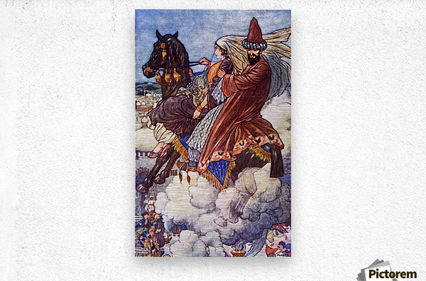 The Story of the Enchanted Horse. Illustration by Charles Folkard from the book The Arabian Nights published 1917  Metal print