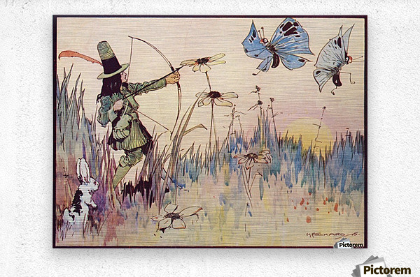 Big Game Hunting in Fairyland. From the illustration by H Folkard from the book Princess Marie-José's Children's Book published 1916.  Metal print